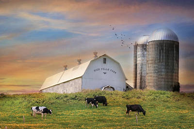 Cow Mixed Media - High Falls Farm by Lori Deiter