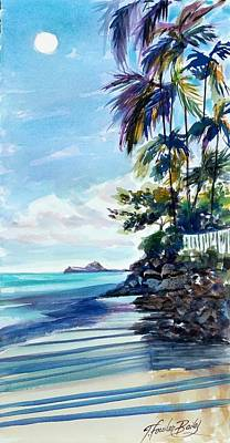 Painting - High Moon At Lanikai End by Therese Fowler-Bailey