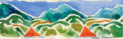 Lino Painting - High Mountains And Meadows by Annie Alexander