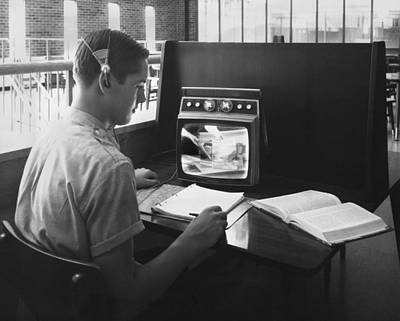 Sixties Photograph - High School Closed-circuit Tv by Underwood Archives