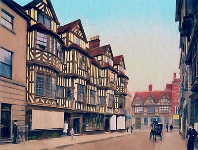 High Street Shrewsbury Print by John K Woodruff