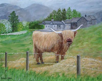 Mountains Painting - Highland Cow by Ronald Haber