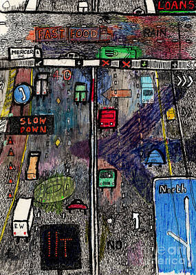 Gridlock Drawing - Highway by Andy  Mercer