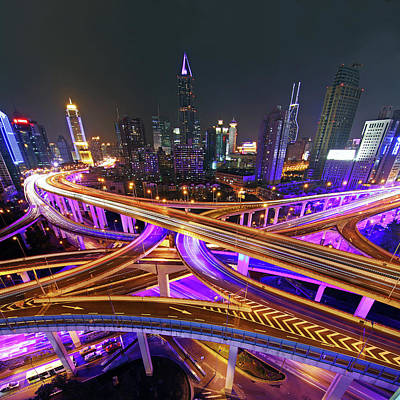 Highway Intersection In Shanghai Print by Lars Ruecker