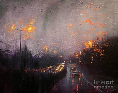 Painting - Highway Rain by Chin H Shin