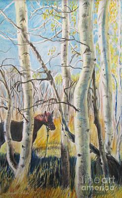 Hiiden In The Aspens  Print by Jeanette Skeem