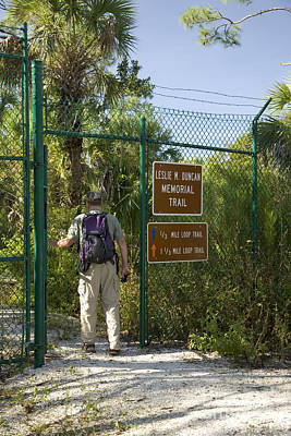 Hiker Enters Panther Refuge Print by Inga Spence