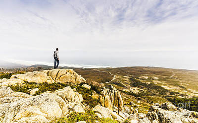 Hiker Man On Top Of A Mountain Print by Jorgo Photography - Wall Art Gallery
