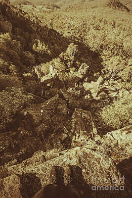 Hiker On Edge Of Tasmania Mountain Range Print by Jorgo Photography - Wall Art Gallery