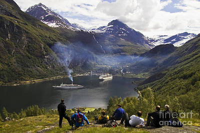 Landscape Photograph - Hikers At Geiranger Fjord by Heiko Koehrer-Wagner