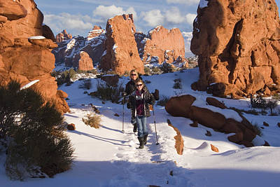Hiking In Arches National Park Print by Utah Images