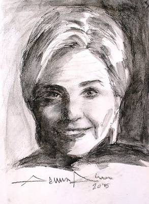 First-lady Drawing - Hillary Clinton by Salman Ameer