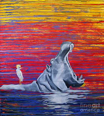 Hippopotamus Mixed Media - Hilda The Hippo by Mariette Flowie Van den Heever