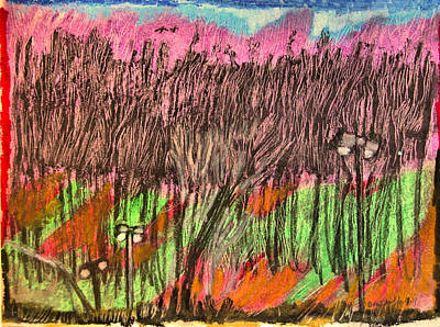 Early Spring Drawing - Hill Behind The Parking Lot by Don Schaeffer
