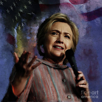 Democrat Mixed Media Painting - Hillary Clinton 01 by Gull G