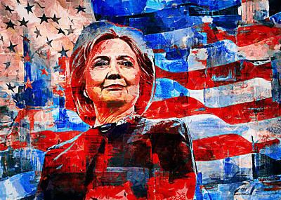 First Lady Mixed Media - Hillary Clinton by Sampad Art