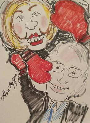 Hillary Clinton Drawing - Hillary Clinton Vs Bernie Sanders by Geraldine Myszenski