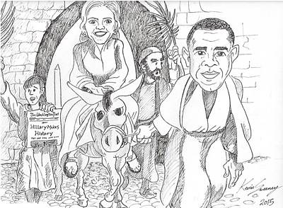 Hillary Clinton Drawing - Hillary Makes History by Kevin Sweeney