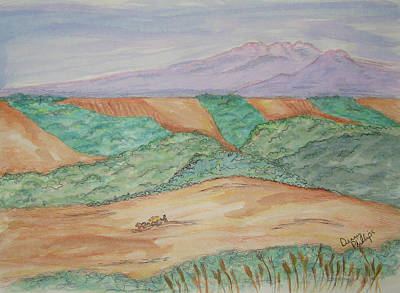 Pasture Scenes Drawing - Hillside Farming by Denny Phillips