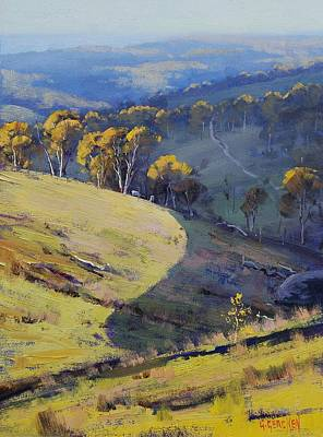 Tree Traditional Art Painting - Hillside Shadows Lithgow by Graham Gercken