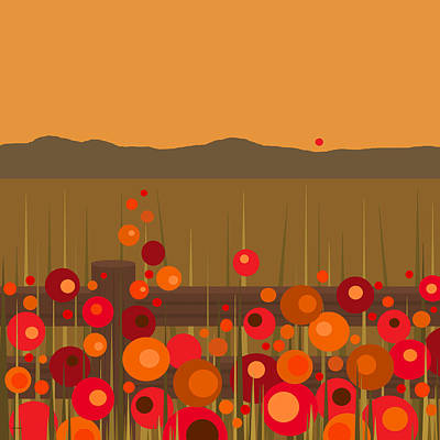Orange Digital Art - Hilltop Sunset by Val Arie