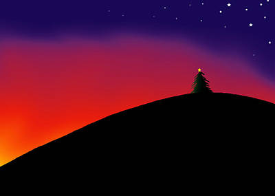 Digital Drawing Drawing - Hilltop Tree by Ross Powell