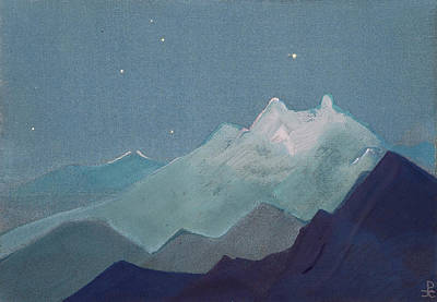 Star Painting - Himalayas, Moonlit Mountains, Sketch by Nicholas Roerich