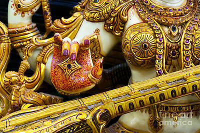 Hindu Goddess Photograph - Hindu Goddess Saraswati Detail by Tim Gainey