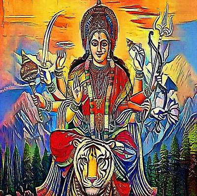 Hindu Goddess Drawing - Hindu Godess Kali - My Www Vikinek-art.com by Viktor Lebeda
