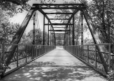 Hinkson Creek Bridge In Black And White Print by Cricket Hackmann