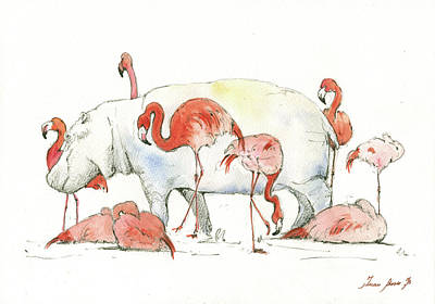 Hippo And Flamingos Original by Juan Bosco