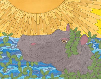 Hippopotamus Drawing - Hippo Happiness by Pamela Schiermeyer