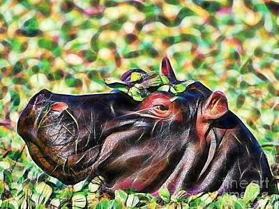 Hippopotamus Mixed Media - Hippo by Marvin Blaine