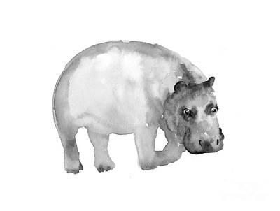Hippopotamus Mixed Media - Hippo Minimalist Painting Large Poster by Joanna Szmerdt