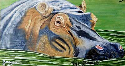 Hippo On Wood Original by Debbie LaFrance