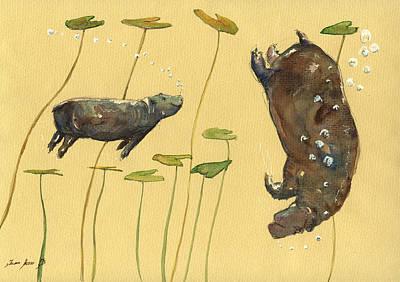 Hippo Watercolor Original by Juan  Bosco