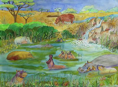 Hippopotami Original by Karen Merry