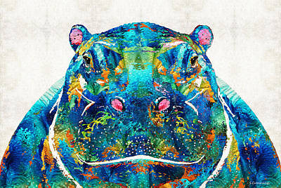 Hippopotamus Art - Happy Hippo - By Sharon Cummings Print by Sharon Cummings