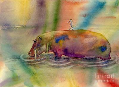 Hippopotamus Painting - Hippy Dippy by Amy Kirkpatrick