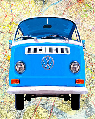 Combie Mixed Media - Hippy Van Travels - Classic Vw Bus by Mark Tisdale