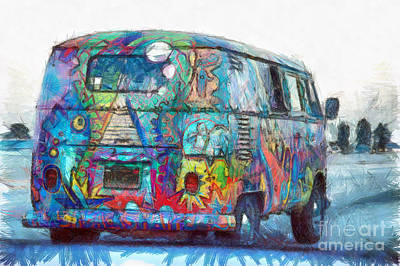 California Surfing Drawing - Hippy Vw Van Bus Pencil by Edward Fielding