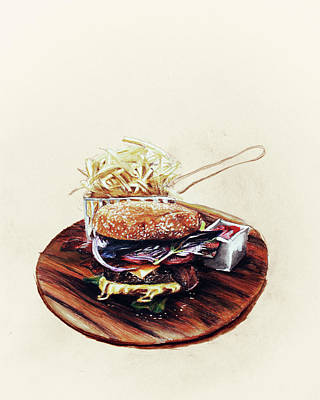 Fries Drawing - Hipster-burger by Maria Boklach