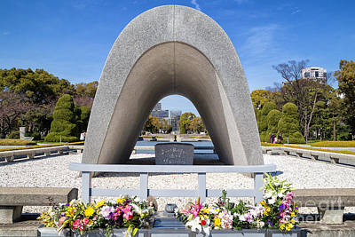 Hiroshima Peace Memorial Park Cenotaph 1 Print by Rhonda Krause
