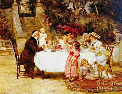 His First Birthday Print by Frederick Morgan