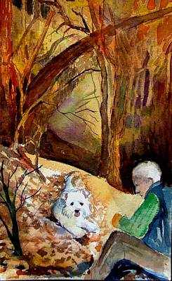 Senior Dog Painting - His Golden Years by Mindy Newman