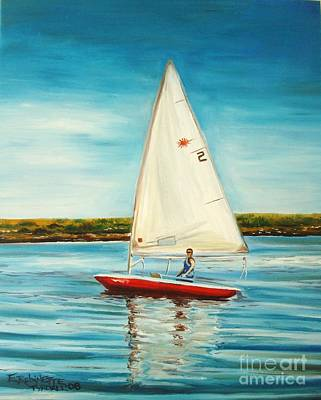Sailboats Painting - His Laser by Elizabeth Robinette Tyndall