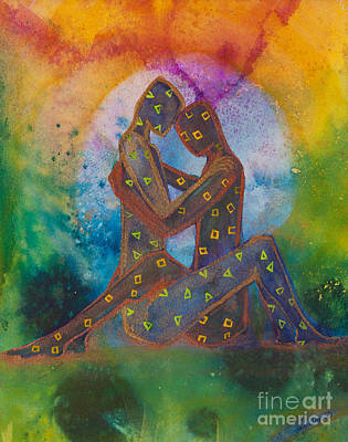 Lgbtq Painting - His Loves Embrace Divine Love Series No. 1007 by Ilisa  Millermoon