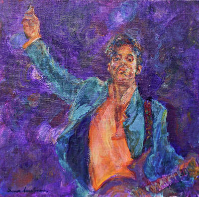 His Purpleness - Prince Tribute Painting - Original Print by Quin Sweetman