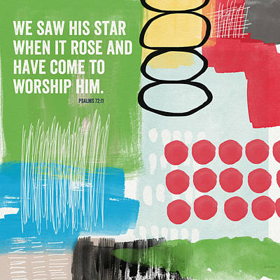 Scripture Mixed Media - His Star Rose- Contemporary Christian Art By Linda Woods by Linda Woods