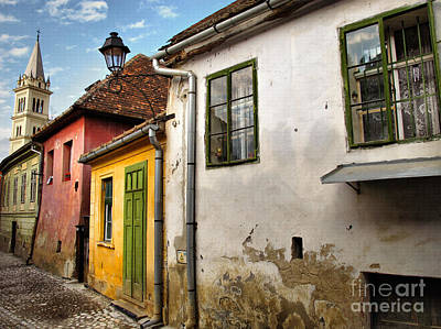 Drawing - Historic Center Of Sighisoara Unesco World Heritage by Daliana Pacuraru